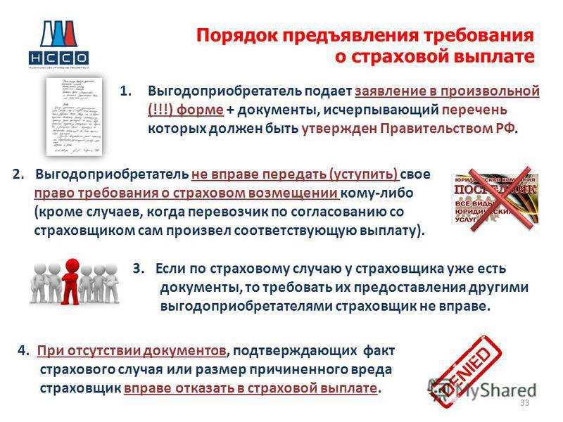 Порядок предъявления требования о страховой выплате 33 1. Выгодоприобретатель подает заявление в произвольной (!!!) форме + документы, исчерпывающий перечень которых должен быть утвержден Правительством РФ. 2. Выгодоприобретатель не вправе передать (