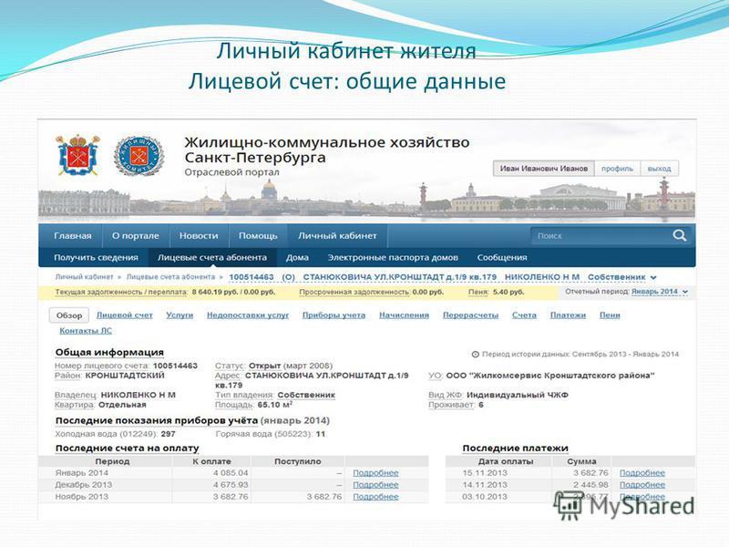 Личный кабинет жителя Лицевой счет: общие данные