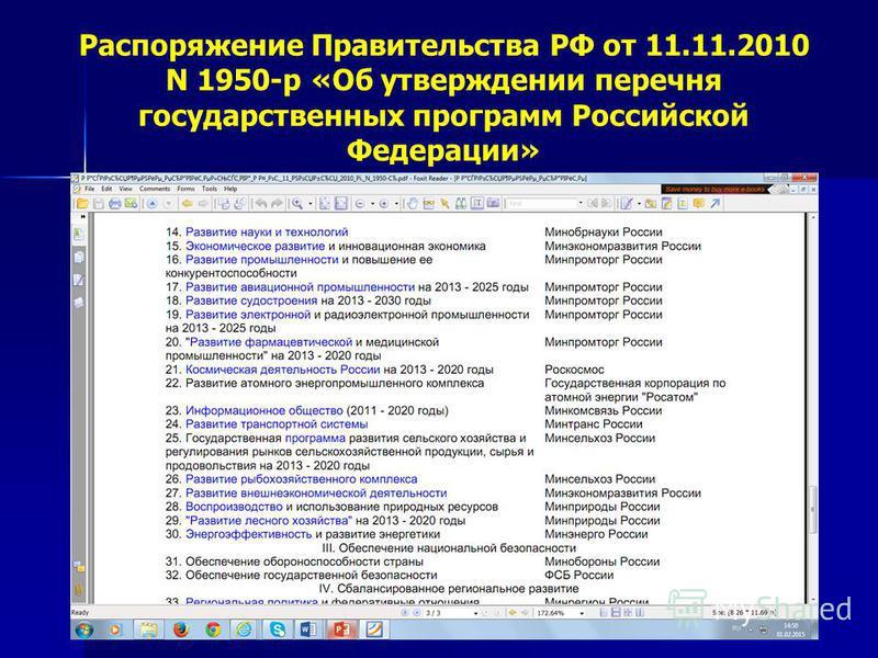 Распоряжение Правительства РФ от 11.11.2010 N 1950-р «Об утверждении перечня государственных программ Российской Федерации»