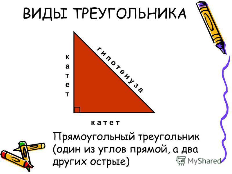 катет к а т е т г и п о т е н у з а ВИДЫ ТРЕУГОЛЬНИКА Прямоугольный треугольник (один из углов прямой, а два других острые)