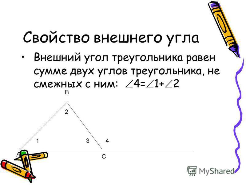 Свойство внешнего угла Внешний угол треугольника равен сумме двух углов треугольника, не смежных с ним: 4= 1+ 2 А В С 41 2 3