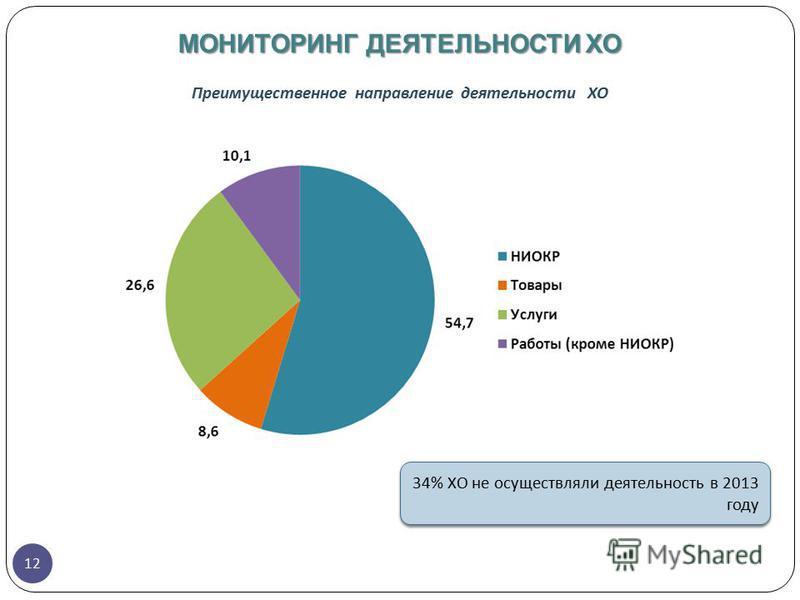 12 Преимущественное направление деятельности ХО МОНИТОРИНГ ДЕЯТЕЛЬНОСТИ ХО 34% ХО не осуществляли деятельность в 2013 году