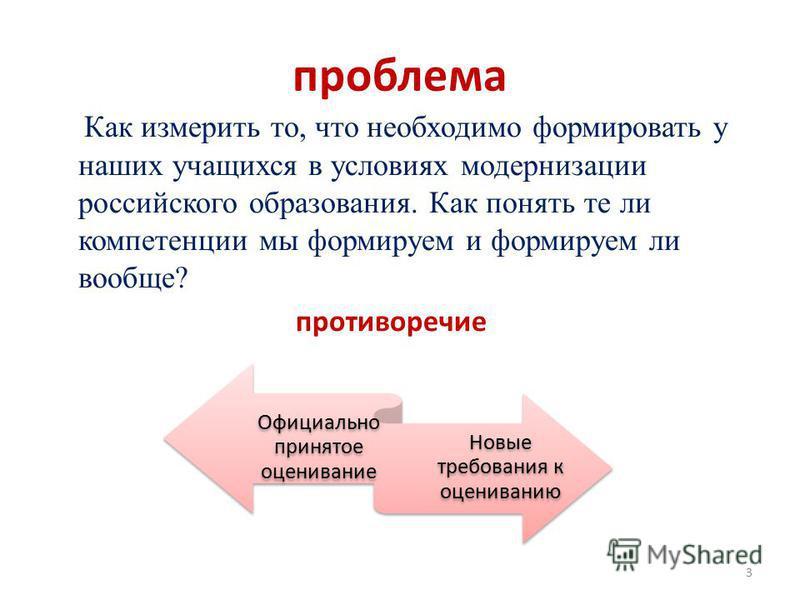 проблема Как измерить то, что необходимо формировать у наших учащихся в условиях модернизации российского образования. Как понять те ли компетенции мы формируем и формируем ли вообще? противоречие Официально принятое оценивание Новые требования к оце