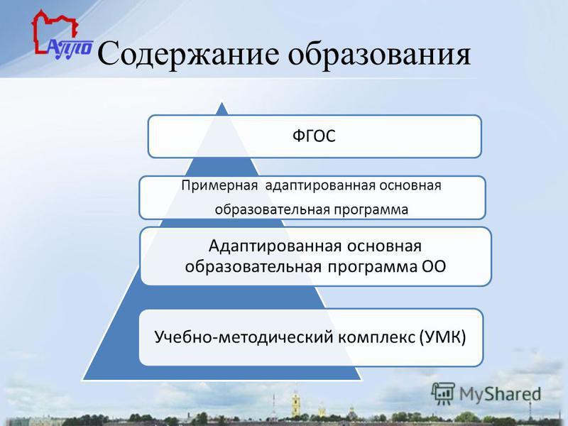 Содержание образования ФГОС Примерная адаптированная основная образовательная программа Адаптированная основная образовательная программа ОО Учебно-методический комплекс (УМК)
