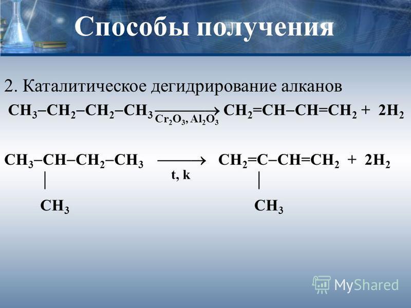 Способы получения 2. Каталитическое дегидрирование алканов СН 3 СН 2 СН 2 СН 3 СН 2 =СН СН=СН 2 + 2Н 2 СН 3 СН СН 2 СН 3 СН 2 =С СН=СН 2 + 2Н 2 СН 3 СН 3 Cr 2 O 3, Al 2 O 3 t, k