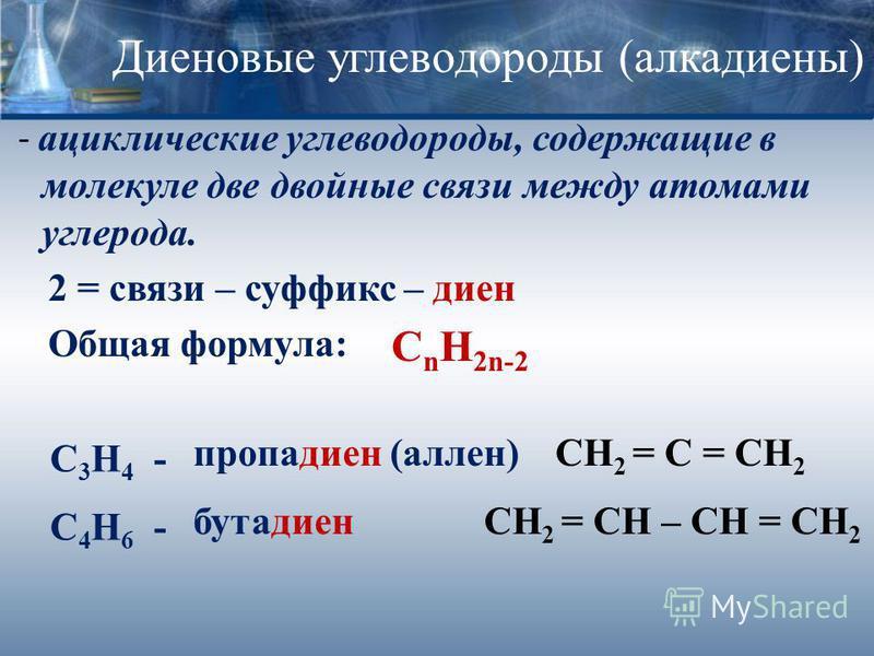 Диеновые углеводороды (алкадиены) - ациклические углеводороды, содержащие в молекуле две двойные связи между атомами углерода. 2 = связи – суффикс – диен Общая формула: С n H 2n-2 пропадиен (аллен) C 3 H 4 - C 4 H 6 - бутадиен СН 2 = С = СН 2 СН 2 =