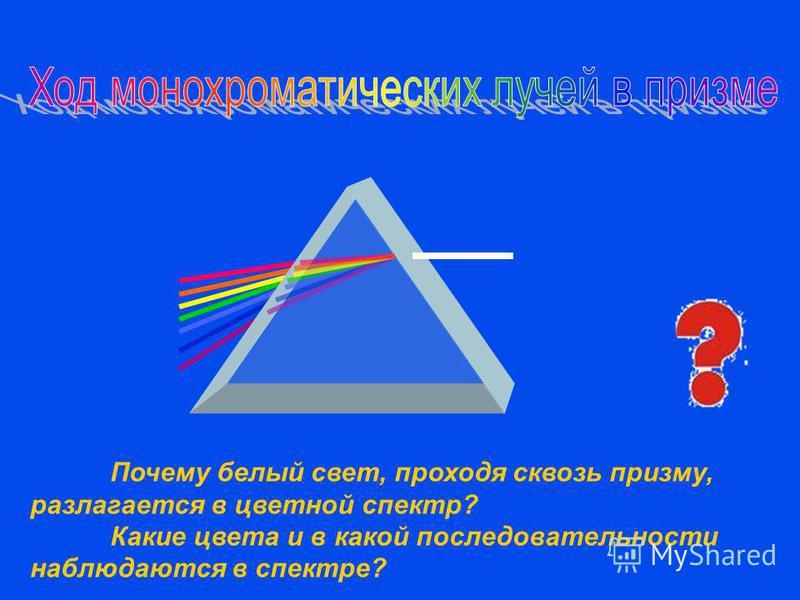 Почему белый свет, проходя сквозь призму, разлагается в цветной спектр? Какие цвета и в какой последовательности наблюдаются в спектре?