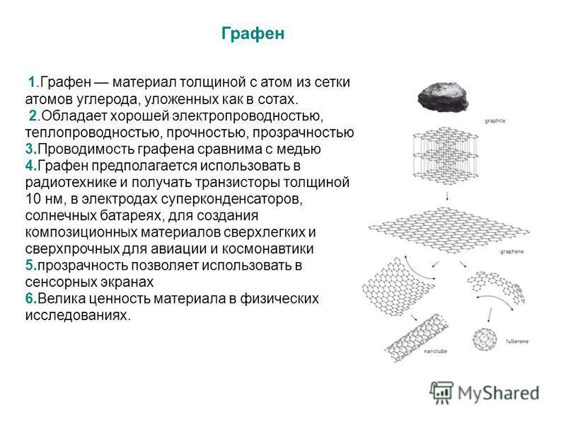 Графен 1. Графен материал толщиной с атом из сетки атомов углерода, уложенных как в сотах. 2. Обладает хорошей электропроводностью, теплопроводностью, прочностью, прозрачностью 3. Проводимость графена сравнима с медью 4. Графен предполагается использ
