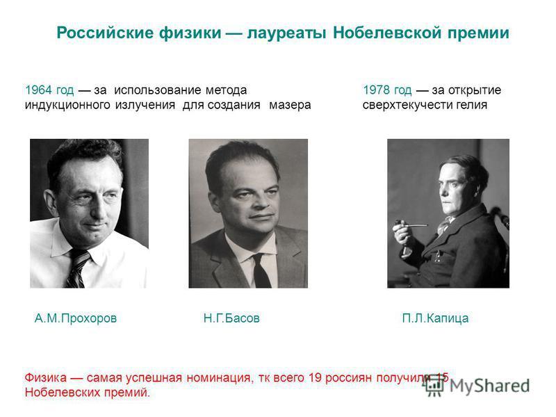 Российские физики лауреаты Нобелевской премии 1964 год за использование метода индукционного излучения для создания мазера 1978 год за открытие сверхтекучести гелия Физика самая успешная номинация, тк всего 19 россиян получили 15 Нобелевских премий.
