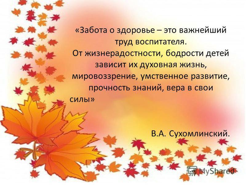 «Забота о здоровье – это важнейший труд воспитателя. От жизнерадостности, бодрости детей зависит их духовная жизнь, мировоззрение, умственное развитие, прочность знаний, вера в свои силы» В.А. Сухомлинский.