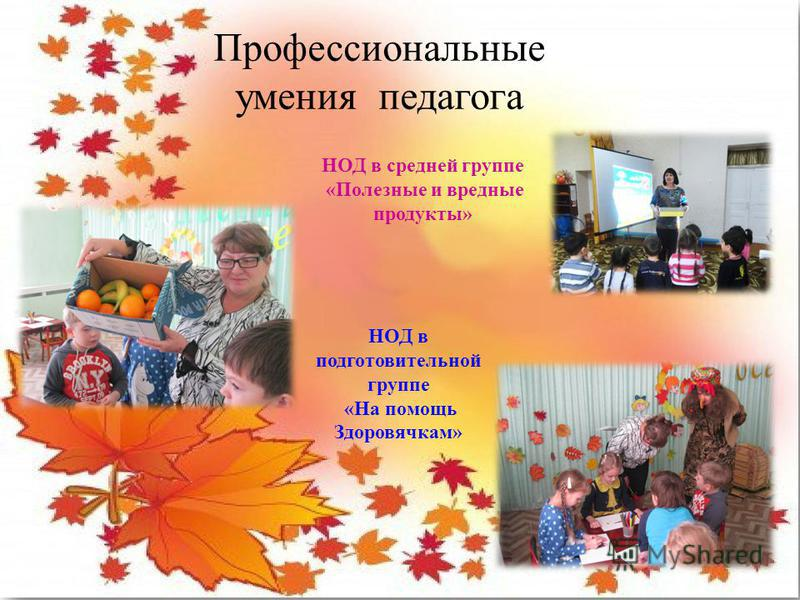 Профессиональные умения педагога НОД в средней группе «Полезные и вредные продукты» НОД в подготовительной группе «На помощь Здоровячкам»