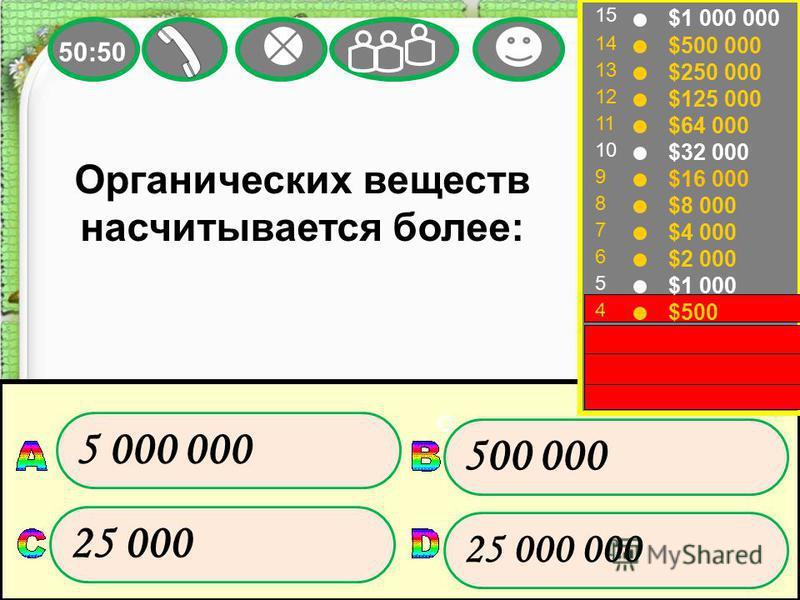 15 14 13 12 11 10 9 8 7 6 5 4 3 2 1 $1 000 000 $500 000 $250 000 $125 000 $64 000 $32 000 $16 000 $8 000 $4 000 $2 000 $1 000 $500 $300 $200 $100 Органических веществ насчитывается более: 500 000 25 000 5 000 000 25 000 000 50:50