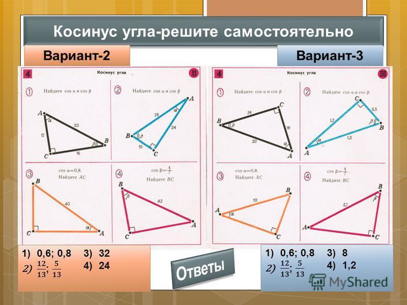 Косинус угла-решите самостоятельно Вариант-2Вариант-3