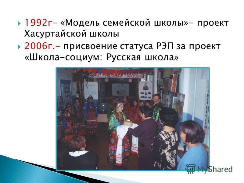 1992 г- «Модель семейкой школы»- проект Хасуртайской школы 2006 г.- присвоение статуса РЭП за проект «Школа-социум: Русская школа»