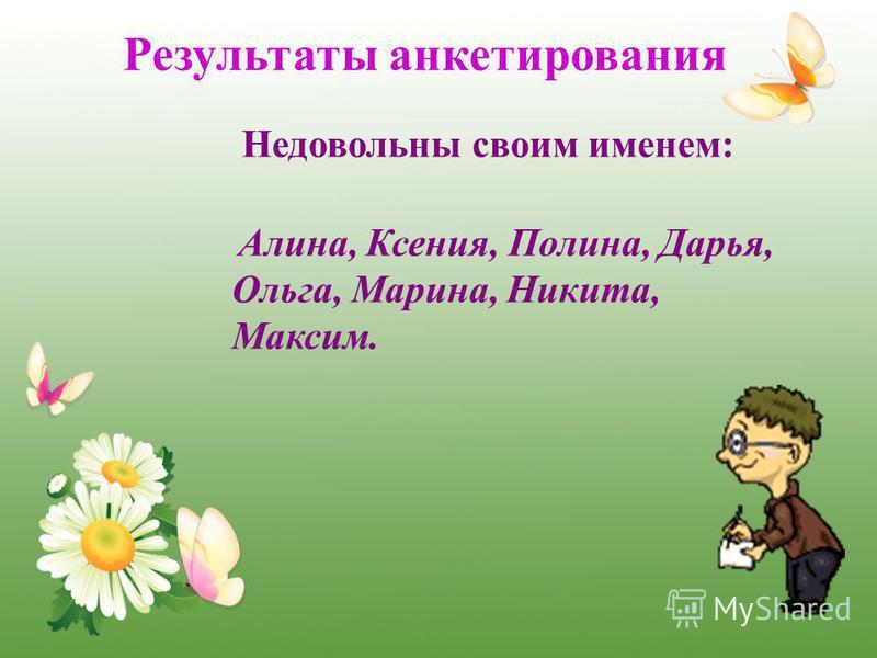 Недовольны своим именем: Алина, Ксения, Полина, Дарья, Ольга, Марина, Никита, Максим. Результаты анкетирования