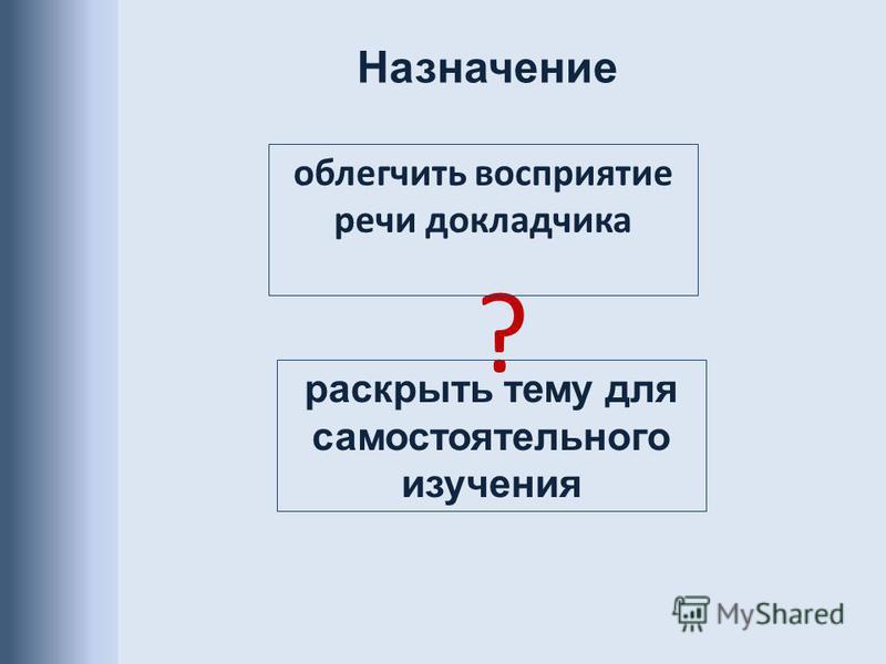 ? облегчить восприятие речи докладчика раскрыть тему для самостоятельного изучения