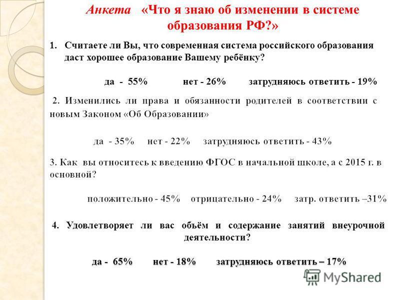 да - 65% нет - 18% затрудняюсь ответить – 17% 4. Удовлетворяет ли вас объём и содержание занятий внеурочной деятельности? да - 65% нет - 18% затрудняюсь ответить – 17% 1. Считаете ли Вы, что современная система российского образования даст хорошее об