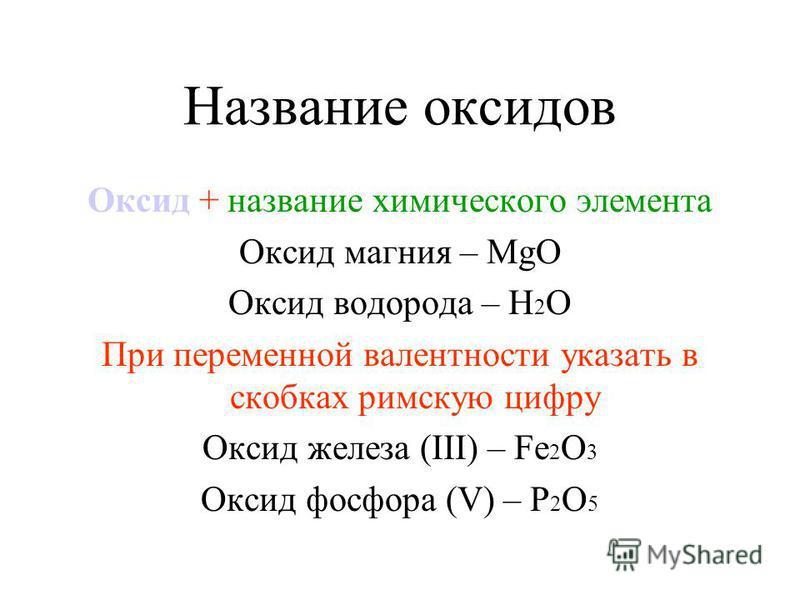 Название оксидов Оксид + название химического элемента Оксид магния – МgО Оксид водорода – Н 2 О При переменной валентности указать в скобках римскую цифру Оксид железа (ІІІ) – Fe 2 О 3 Оксид фосфора (V) – Р 2 О 5