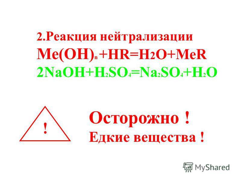 2. Реакция нейтрализации Ме(ОН) n +HR=H 2 O+MeR 2NaOH+H 2 SO 4 =Na 2 SO 4 +H 2 O ! Осторожно ! Едкие вещества !