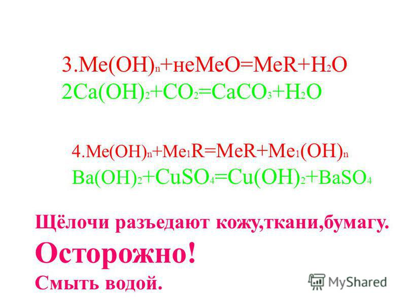 3.Ме(ОН) n +не МеО=МеR+H 2 O 2Ca(OH) 2 +CO 2 =CaCO 3 +H 2 O 4.Ме(ОН) n +Me 1 R=MeR+Me 1 (OH) n Ba(OH) 2 +CuSO 4 =Cu(OH) 2 + BaSO 4 Щёлочи разъедают кожу,ткани,бумагу. Осторожно! Смыть водой.