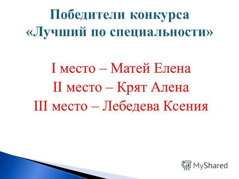 I место – Матей Елена II место – Крят Алена III место – Лебедева Ксения