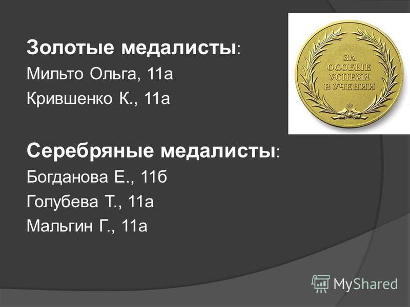 Золотые медалисты : Мильто Ольга, 11 а Крившенко К., 11 а Серебряные медалисты : Богданова Е., 11 б Голубева Т., 11 а Мальгин Г., 11 а