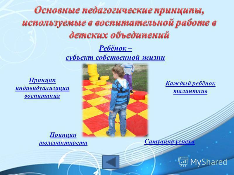 Ребёнок – субъект собственной жизни Каждый ребёнок талантлив Принцип индивидуализации воспитания Ситуация успеха Принцип толерантности