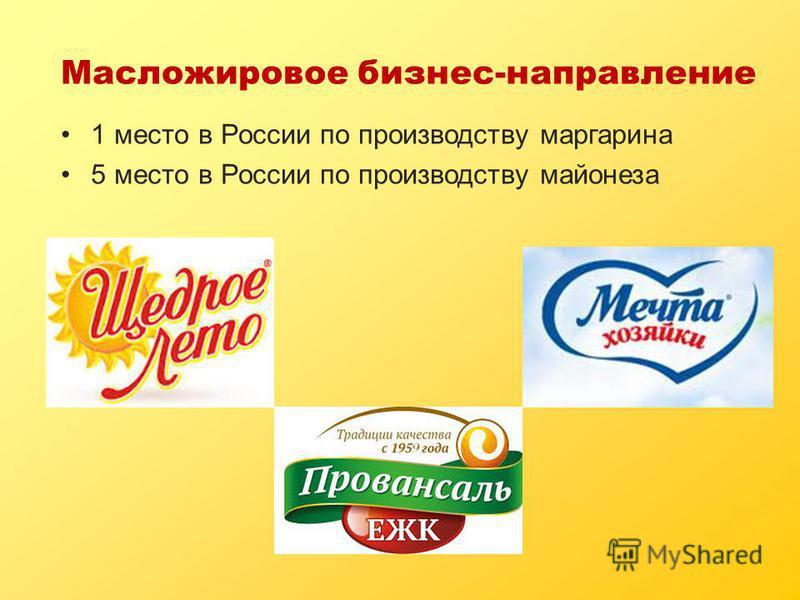 Масложировое бизнес-направление 1 место в России по производству маргарина 5 место в России по производству майонеза