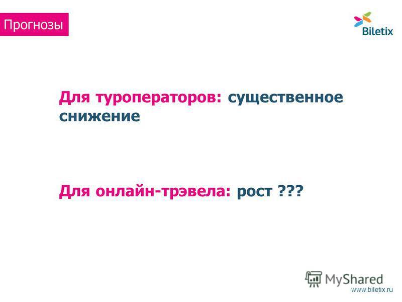 Для туроператоров: существенное снижение Для онлайн-трэвела: рост ??? Прогнозы www.biletix.ru