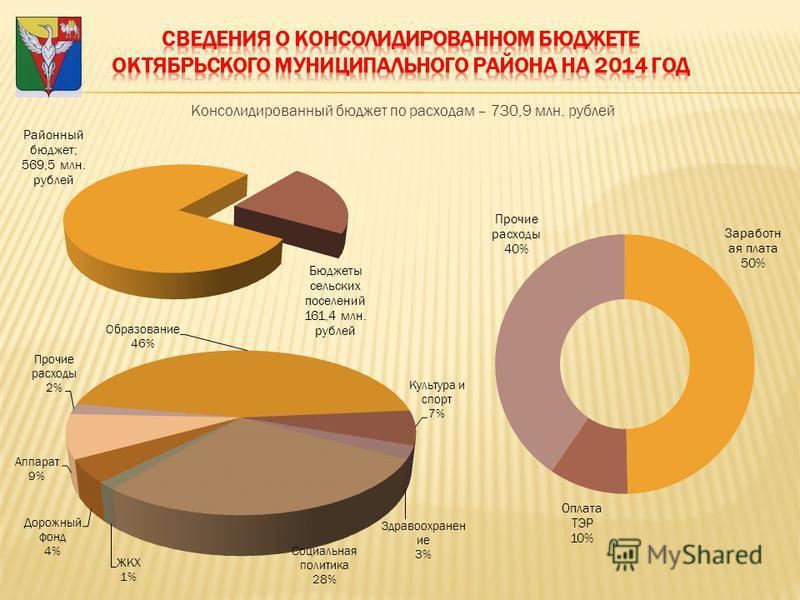 Консолидированный бюджет по расходам – 730,9 млн. рублей