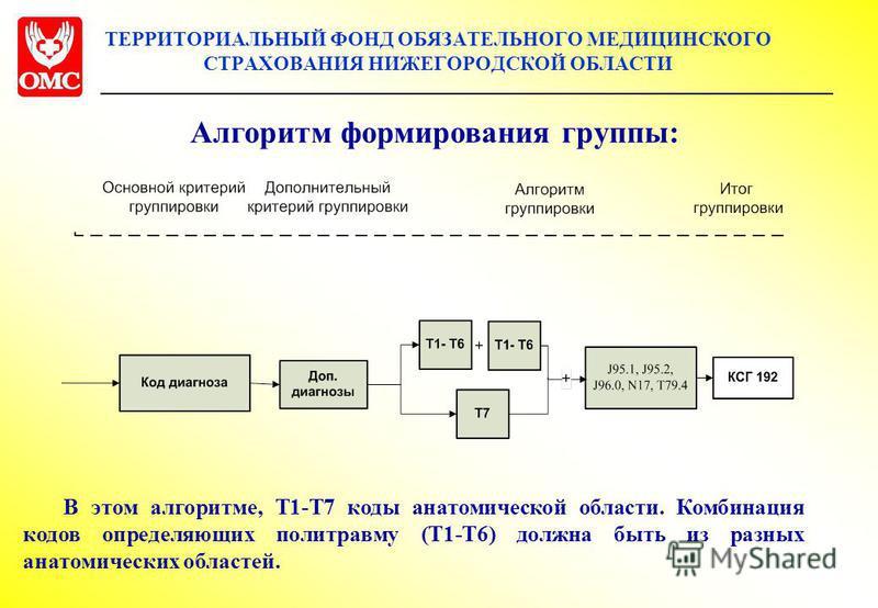 ТЕРРИТОРИАЛЬНЫЙ ФОНД ОБЯЗАТЕЛЬНОГО МЕДИЦИНСКОГО СТРАХОВАНИЯ НИЖЕГОРОДСКОЙ ОБЛАСТИ Алгоритм формирования группы: В этом алгоритме, Т1-Т7 коды анатомияеской области. Комбинация кодов определяющих политравму (Т1-Т6) должна быть из разных анатомияеских о