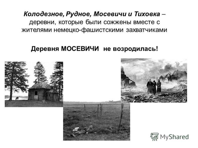 Колодезное, Рудное, Мосевичи и Тиховка – деревни, которые были сожжены вместе с жителями немецко-фашистскими захватчиками Деревня МОСЕВИЧИ не возродилась!