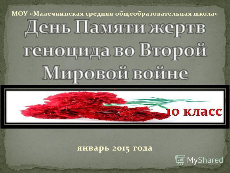 МОУ «Малечкинская средняя общеобразовательная школа» январь 2015 года