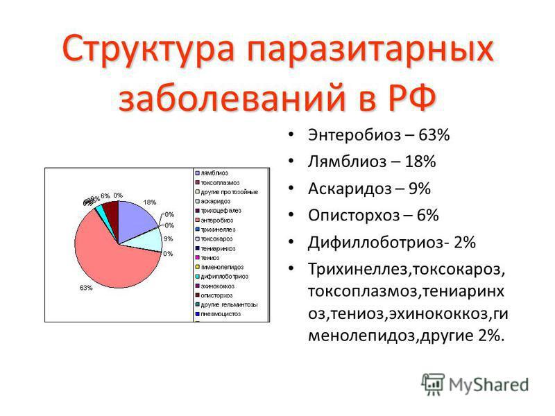 Структура паразитарных заболеваний в РФ Энтеробиоз – 63% Лямблиоз – 18% Аскаридоз – 9% Описторхоз – 6% Дифиллоботриоз- 2% Трихинеллез,токсокароз, токсоплазмоз,тениаринхоз,тениоз,эхинококкоз,гименолепидоз,другие 2%.