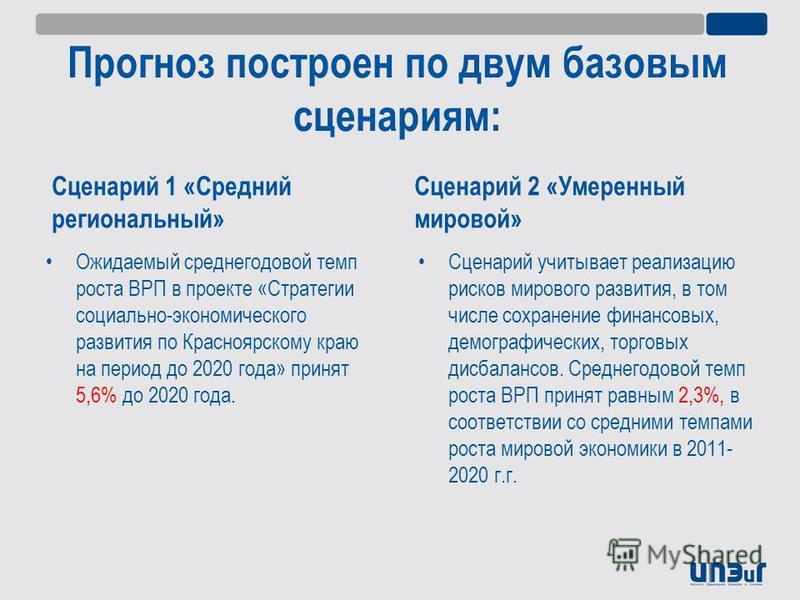Прогноз построен по двум базовым сценариям: Сценарий 1 «Средний региональный» Ожидаемый среднегодовой темп роста ВРП в проекте «Стратегии социально-экономического развития по Красноярскому краю на период до 2020 года» принят 5,6% до 2020 года. Сценар
