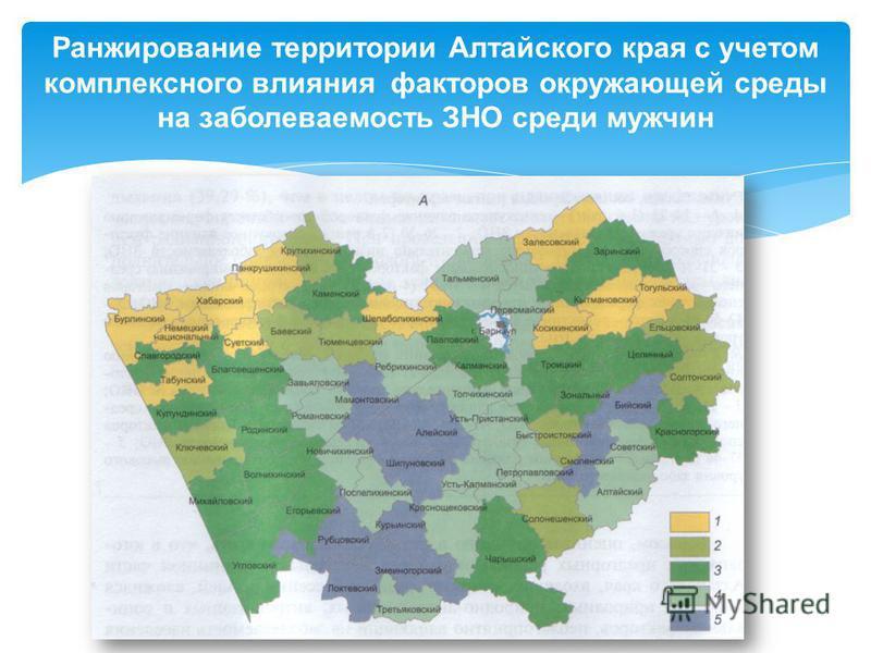 Ранжирование территории Алтайского края с учетом комплексного влияния факторов окружающей среды на заболеваемость ЗНО среди мужчин