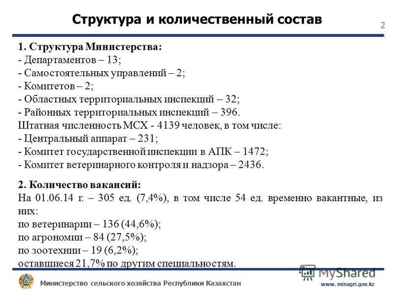 Министерство сельского хозяйства Республики Казахстан www. minagri.gov.kz 2 Структура и количественный состав 1. Структура Министерства: - Департаментов – 13; - Самостоятельных управлений – 2; - Комитетов – 2; - Областных территориальных инспекций –