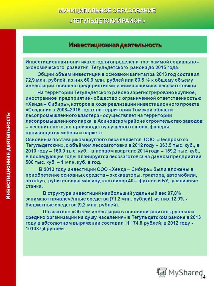 Инвестиционная деятельность Инвестиционная политика сегодня определена программой социально - экономического развития Тегульдетского района до 2015 года. Общий объем инвестиций в основной капитал за 2013 год составил 72,9 млн. рублей, из них 60,9 млн