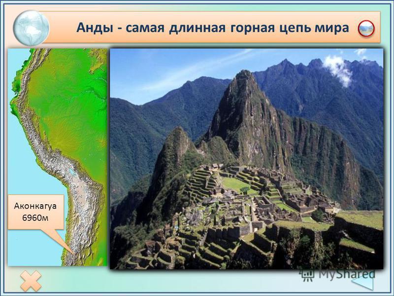Анды - самая длинная горная цепь мира Аконкагуа 6960 м Аконкагуа 6960 м Горы Анды (9000 км) - параллельные горные цепи, тянутся с юга на север. Между ними лежат внутренние плоскогорья и плато. Вершины гор покрыты снегом круглый год даже в экваториаль