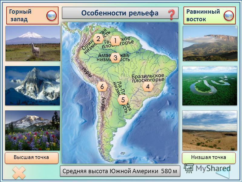 Особенности рельефа Горный запад Горный запад Равнинный восток 66 Гвианское плоскогорье 11 Оринокская низменность Амазонская низменность Бразильское плоскогорье Ла-Платская низменность горы 22 33 44 55 Анды Средняя высота Южной Америки 580 м Высшая т
