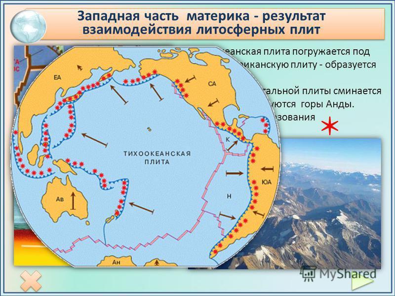 Тихоокеанская плита погружается под Южно-Американскую плиту - образуется желоб. Край континентальной плиты сминается в складки – образуются горы Анды. Процесс горообразования продолжается. Западная часть материка - результат взаимодействия литосферны