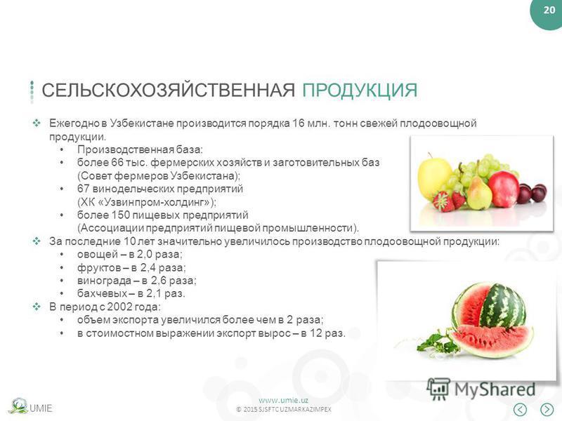 www.umie.uz © 2015 SJSFTC UZMARKAZIMPEX 20 UMIE СЕЛЬСКОХОЗЯЙСТВЕННАЯ ПРОДУКЦИЯ Ежегодно в Узбекистане производится порядка 16 млн. тонн свежей плодоовощной продукции. Производственная база: более 66 тыс. фермерских хозяйств и заготовительных баз (Сов