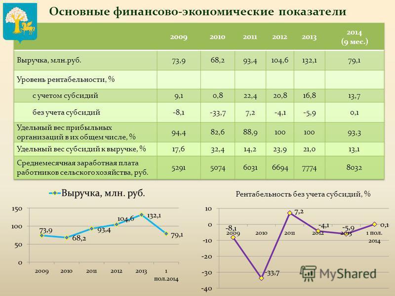 Основные финансово-экономические показатели Рентабельность без учета субсидий, %