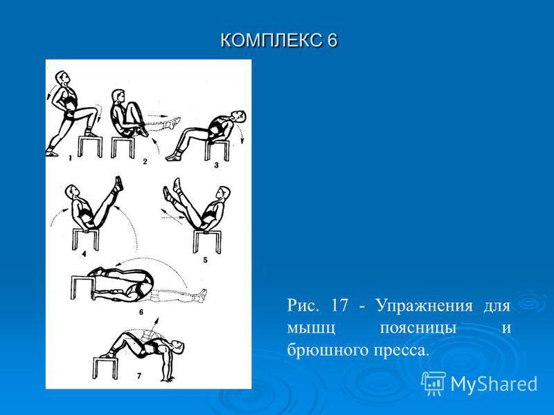 КОМПЛЕКС 6 Рис. 17 - Упражнения для мышц поясницы и брюшного пресса.