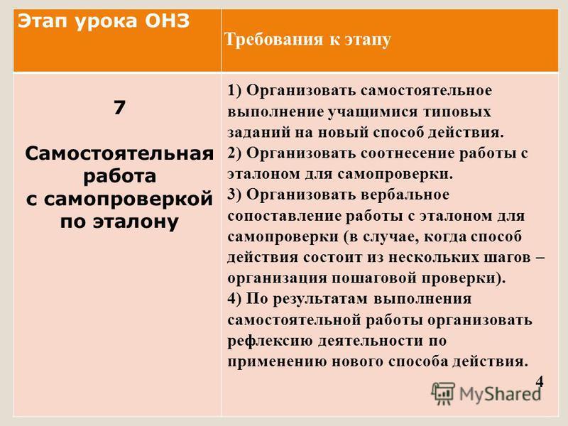 Этап урока ОНЗ 7 Самостоятельная работа с самопроверкой по эталону 1) Организовать самостоятельное выполнение учащимися типовых заданий на новый способ действия. 2) Организовать соотнесение работы с эталоном для самопроверки. 3) Организовать вербальн