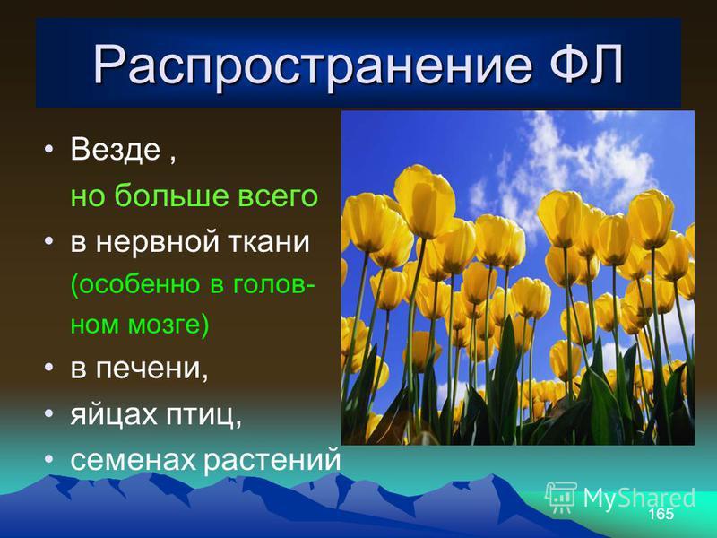 165 Распространение ФЛ Везде, но больше всего в нервной ткани (особенно в голов- ном мозге) в печени, яйцах птиц, семенах растений