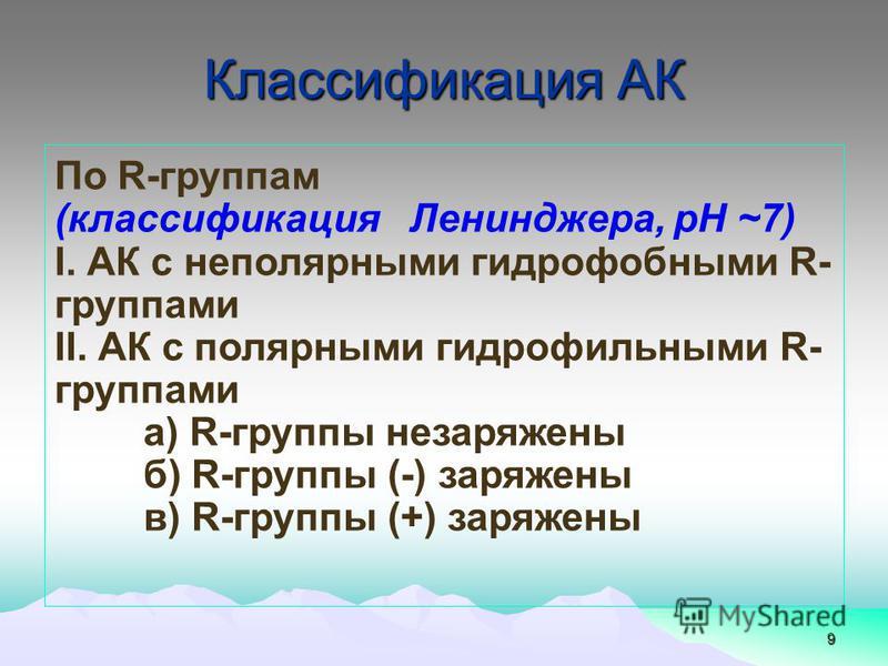 Классификация АК 9 По R-группам (классификация Ленинджера, рН ~7) І. АК с неполярными гидрофобными R- группами ІІ. АК с полярными гидрофильными R- группами а) R-группы не заряжены б) R-группы (-) заряжены в) R-группы (+) заряжены