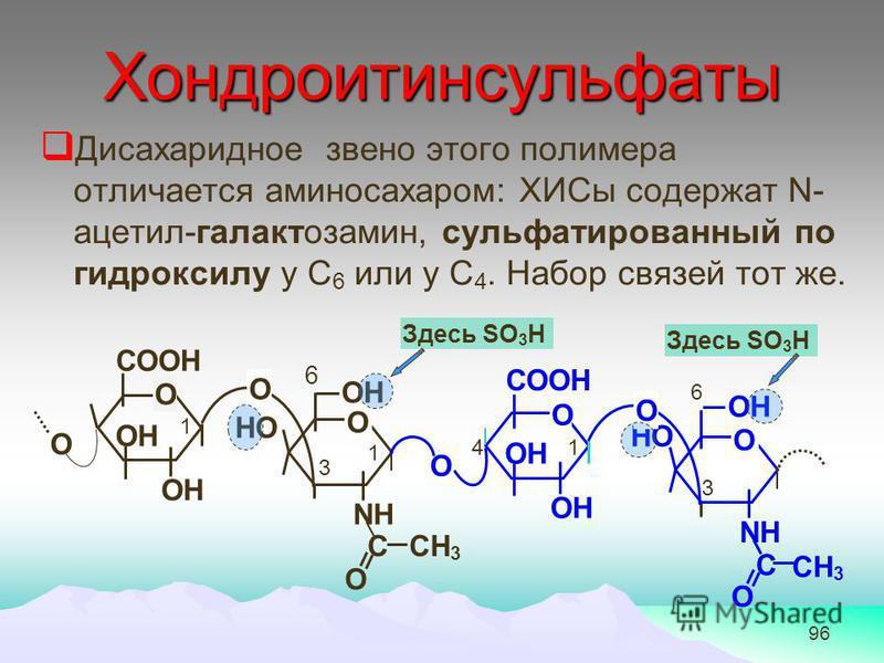 96 Хондроитинсульфаты Дисахаридное звено этого полимера отличается аминосахаром: ХИСы содержат N- ацетил-галактозамин, сульфатированный по гидроксилу у С 6 или у С 4. Набор связей тот же. СООН ОН О О СООН ОН О О О NH НО О C О CH 3 О ОН NH НО О C О CH