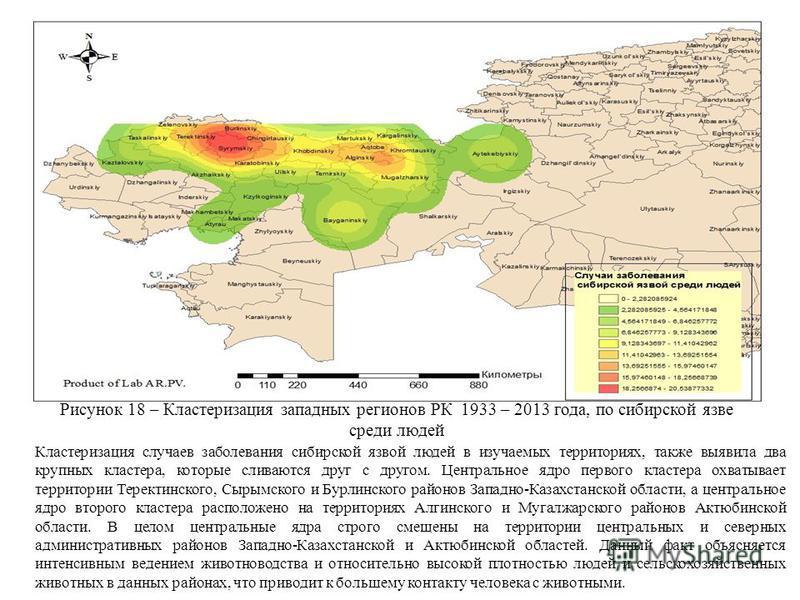 Рисунок 18 – Кластеризация западных регионов РК 1933 – 2013 года, по сибирской язве среди людей Кластеризация случаев заболевания сибирской язвой людей в изучаемых территориях, также выявила два крупных кластера, которые сливаются друг с другом. Цент