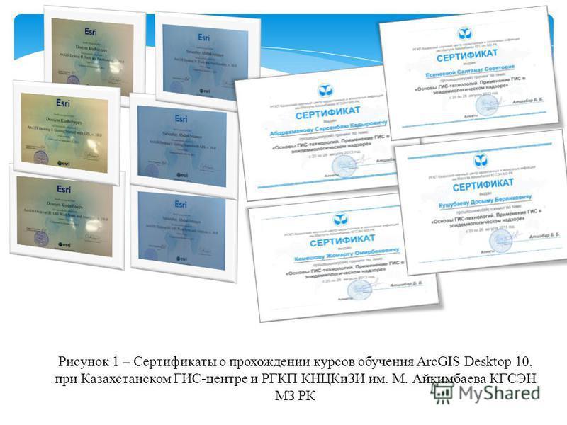 Рисунок 1 – Сертификаты о прохождении курсов обучения ArcGIS Desktop 10, при Казахстанском ГИС-центре и РГКП КНЦКиЗИ им. М. Айкимбаева КГСЭН МЗ РК